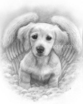 puppy angel dog art